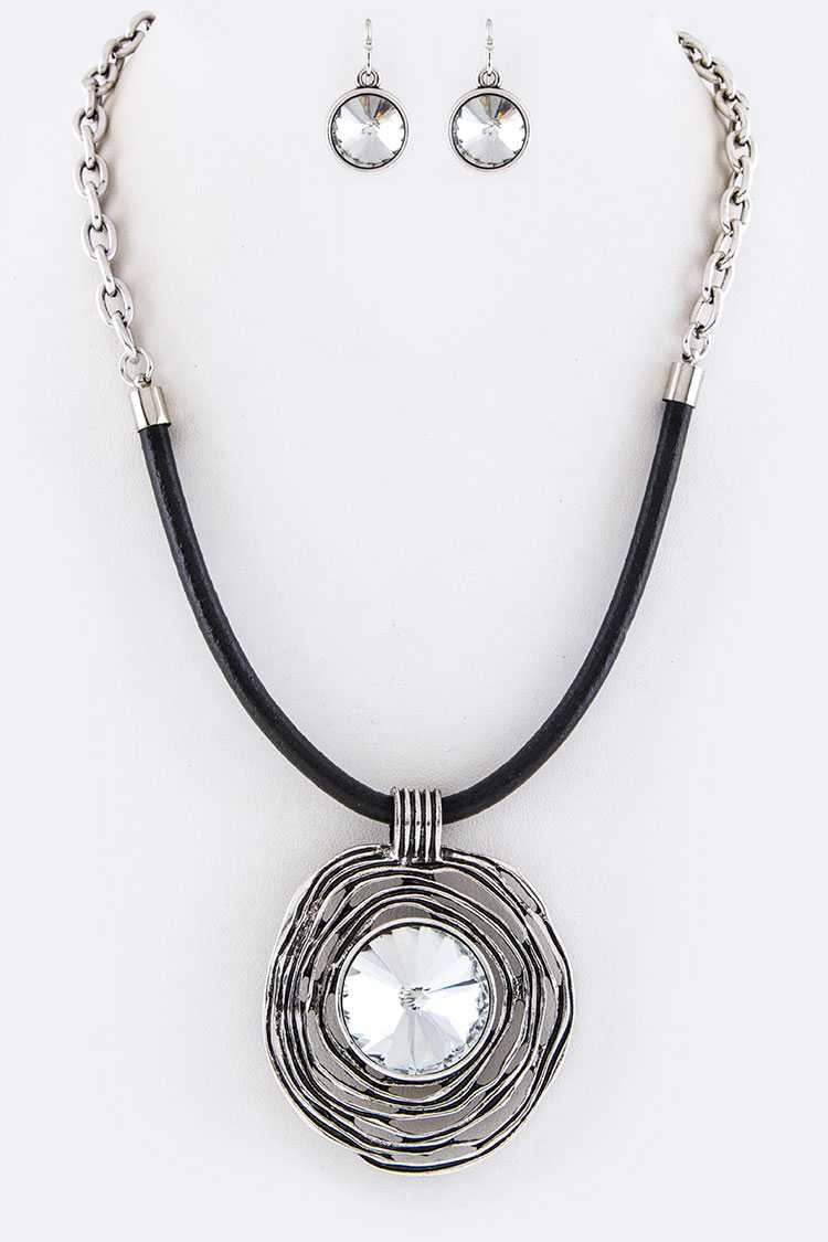 Crystal Ripple Pendant Necklace Set