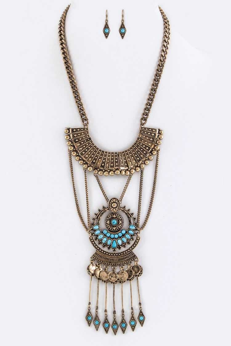 Fringe Disks & Bars Iconic Tribal Necklace Set