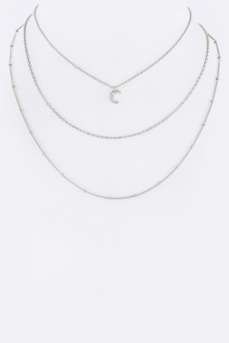 CZ Crescent Layer Choker Necklace