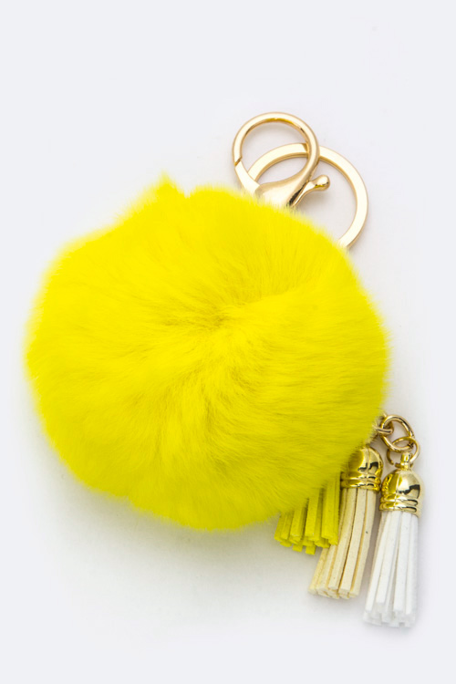Tassels & Rabbit Pom Pom Fur Key Charm