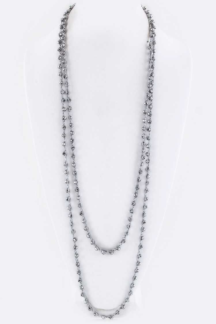 "76"" Extra Long Knotted Crystal Necklace"