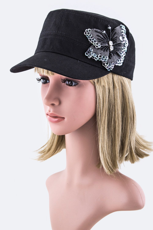Crystal & Butterfly Bow Military Cap