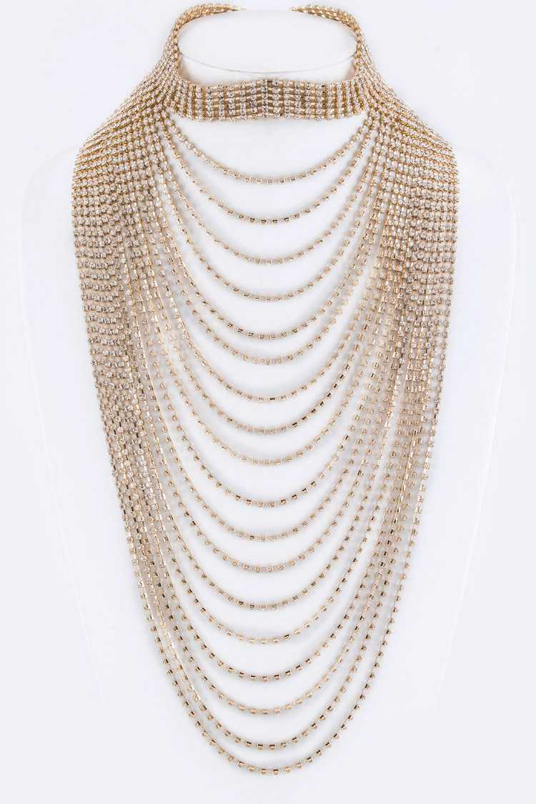 Rhinestones Layer Choker Necklace Set