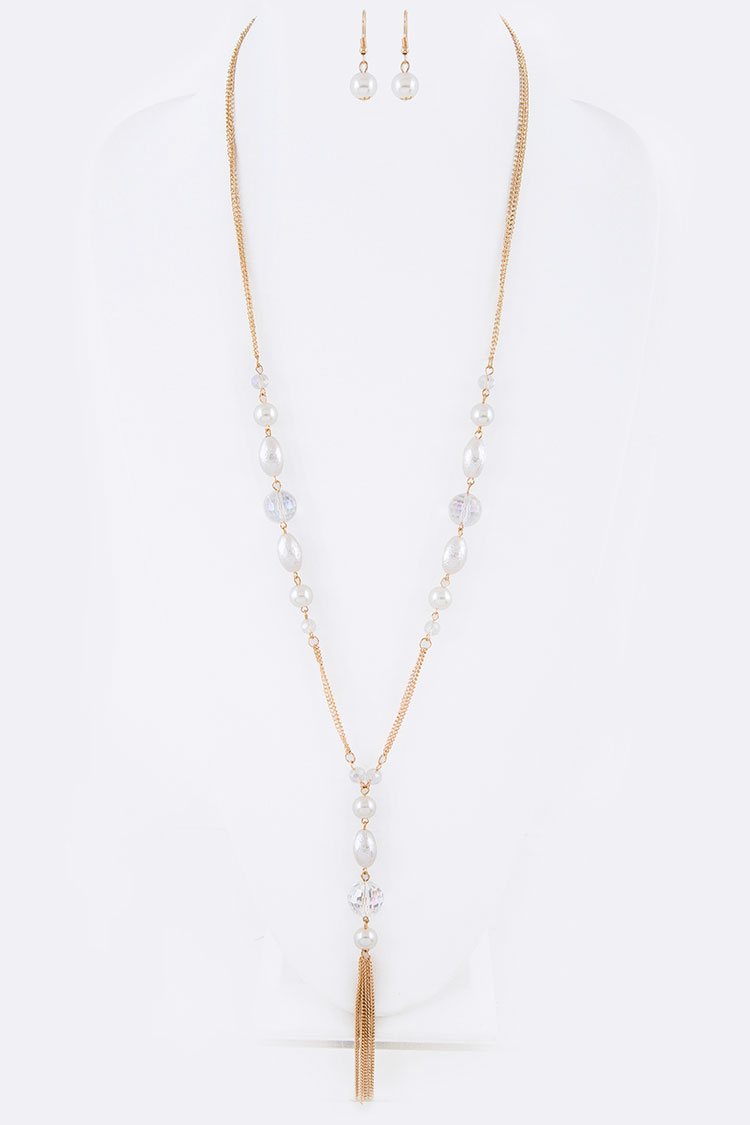 Fringe Chain Mix Pearl Crystal Pendant Necklace Set
