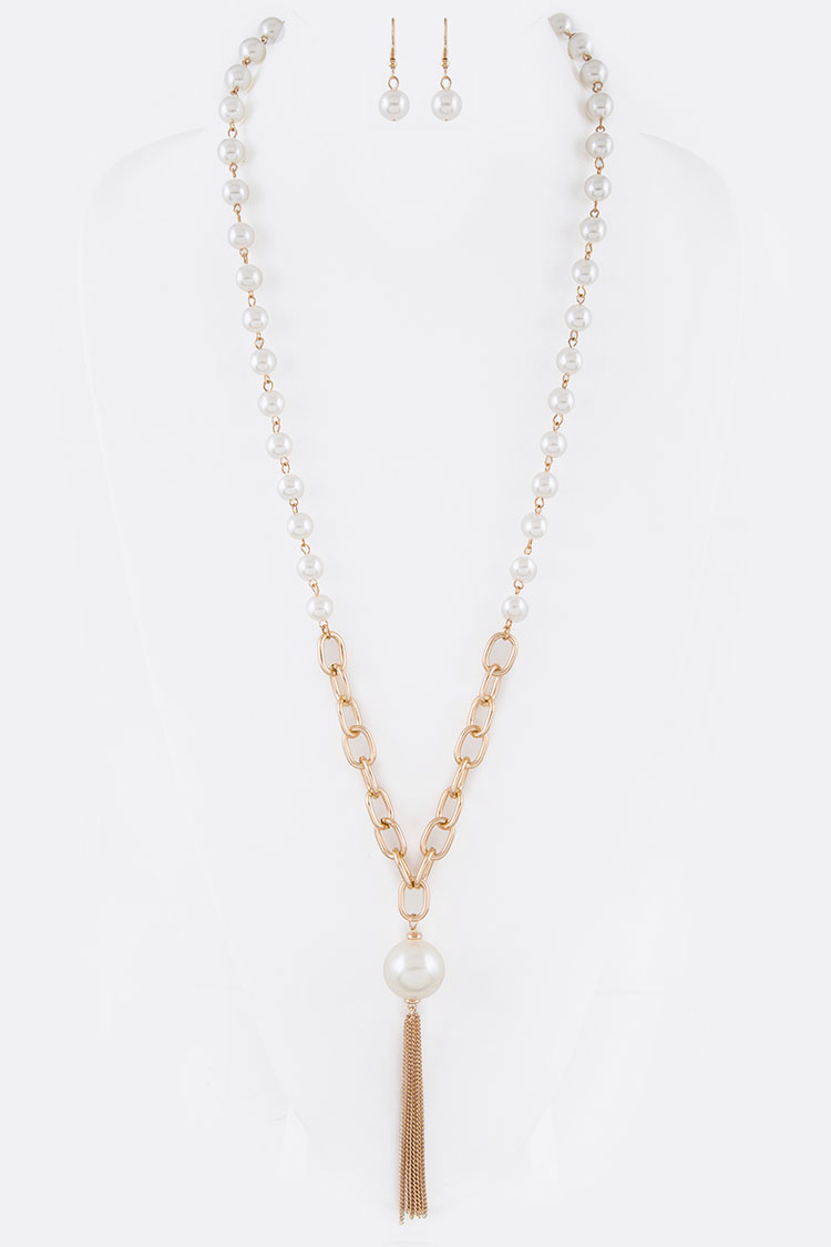 Pearl Pendant Chain Tassel Necklace Set