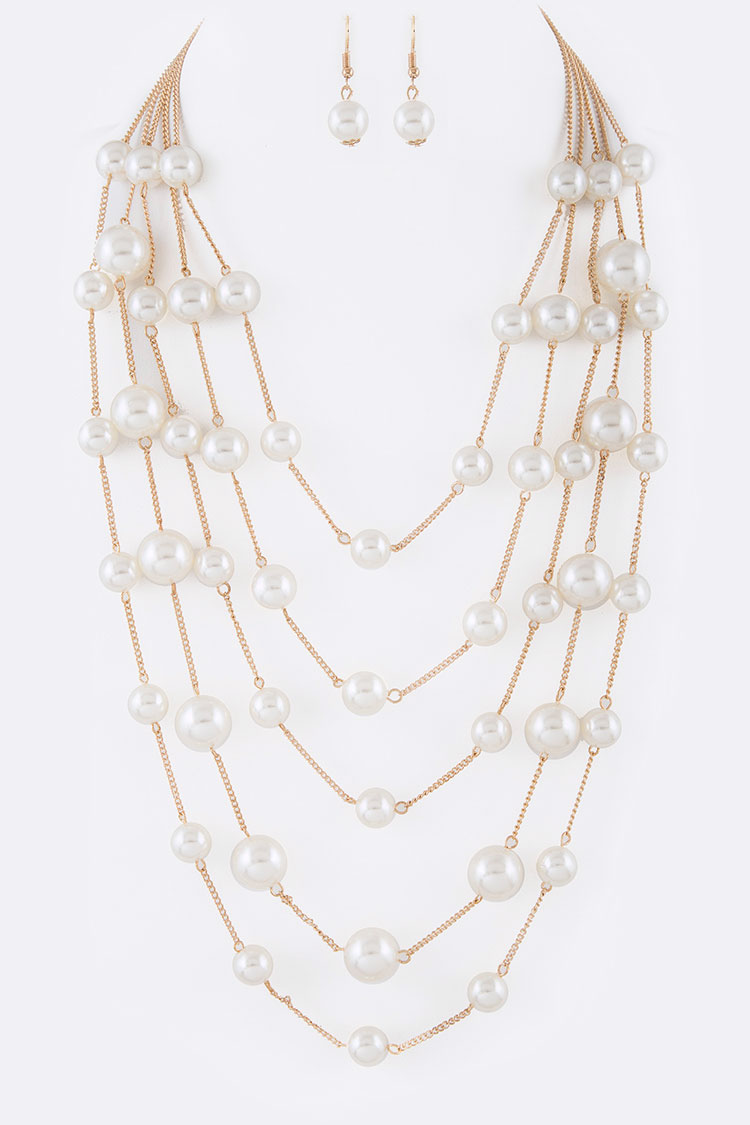 Pearl Station Chain Layer Necklace Set