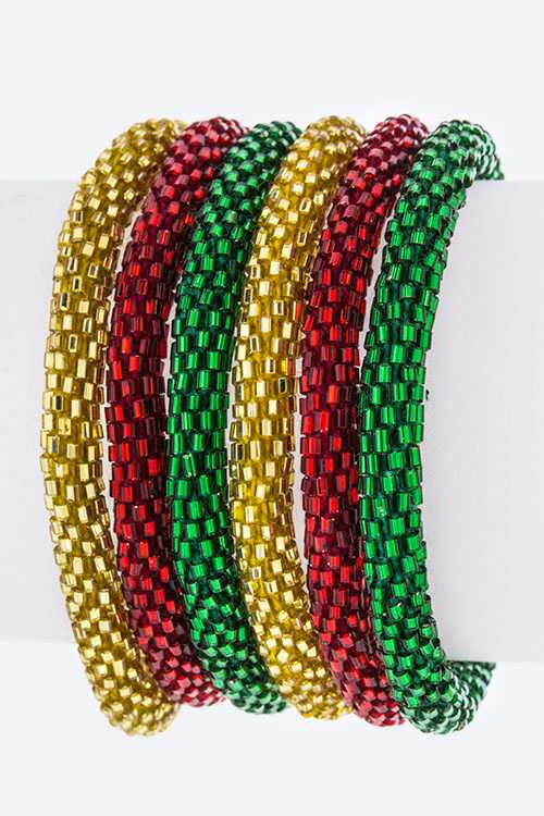 X'mas Color Nepal Roll Up Bracelets Set - Gold