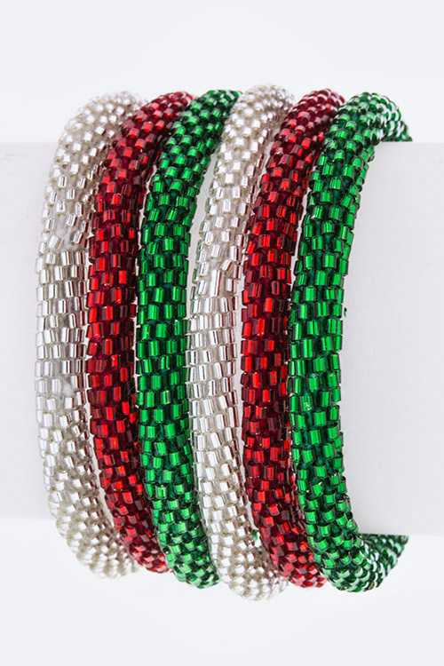 X'mas Color Nepal Roll Up Bracelets Set - Silver