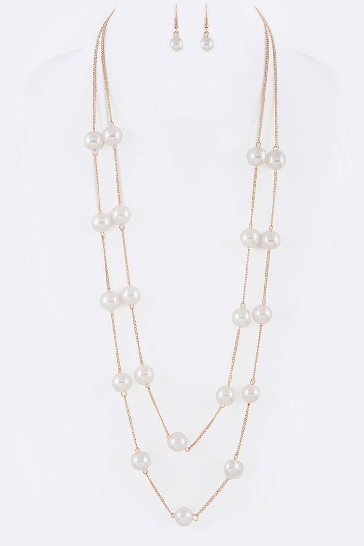 Pearl Station Layer Long Necklace Set