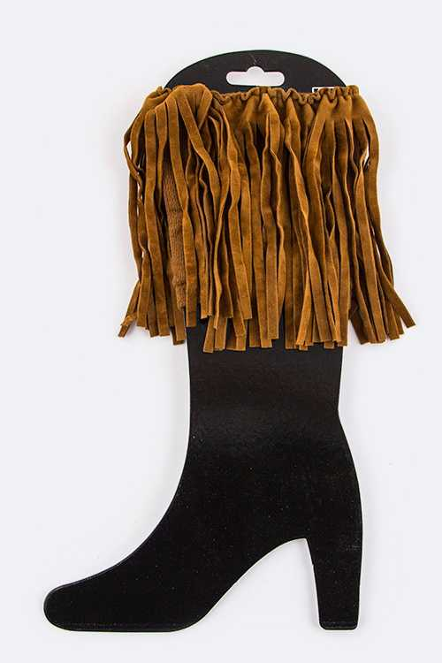 Fringe Suede Boot Toppers