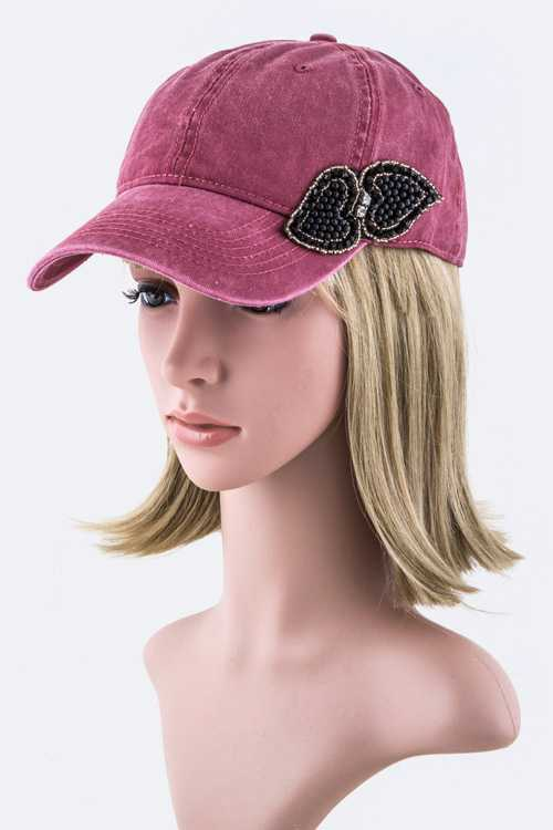 Beaded Bow Fashion Cap