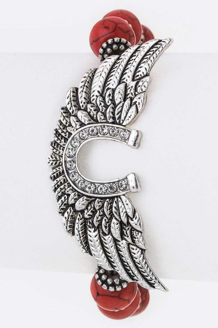 Crystal Wings Stretch Bead Bracelet