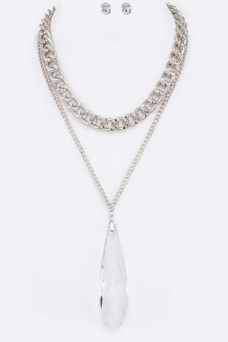 Crystal Teardrop Pendant Layered Necklace Set