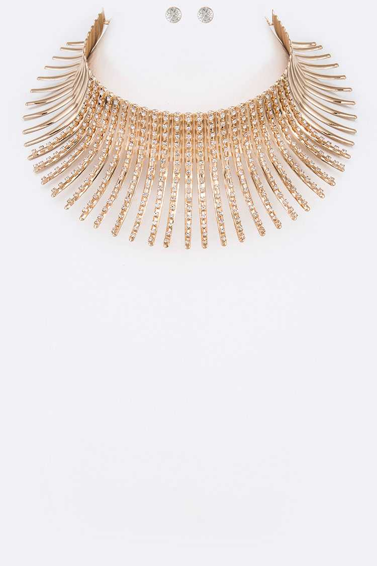 Crystal Accent Statement Collar Necklace Set