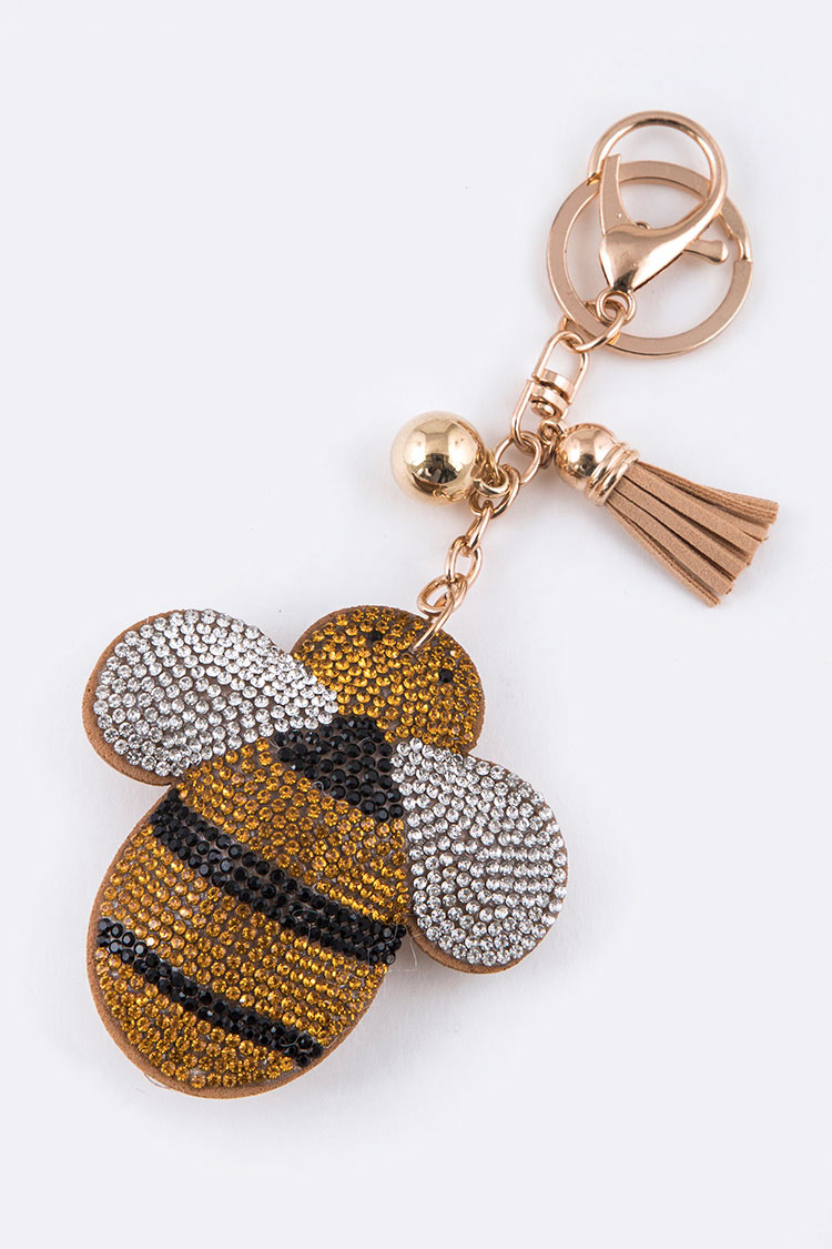 Crystal Bee Puff Key Charm