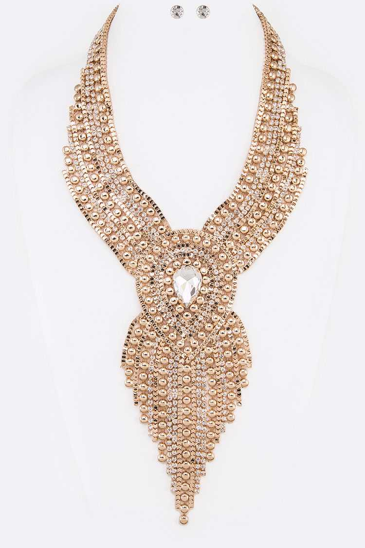 Head Turner Mix Chain Statement Necklace Set