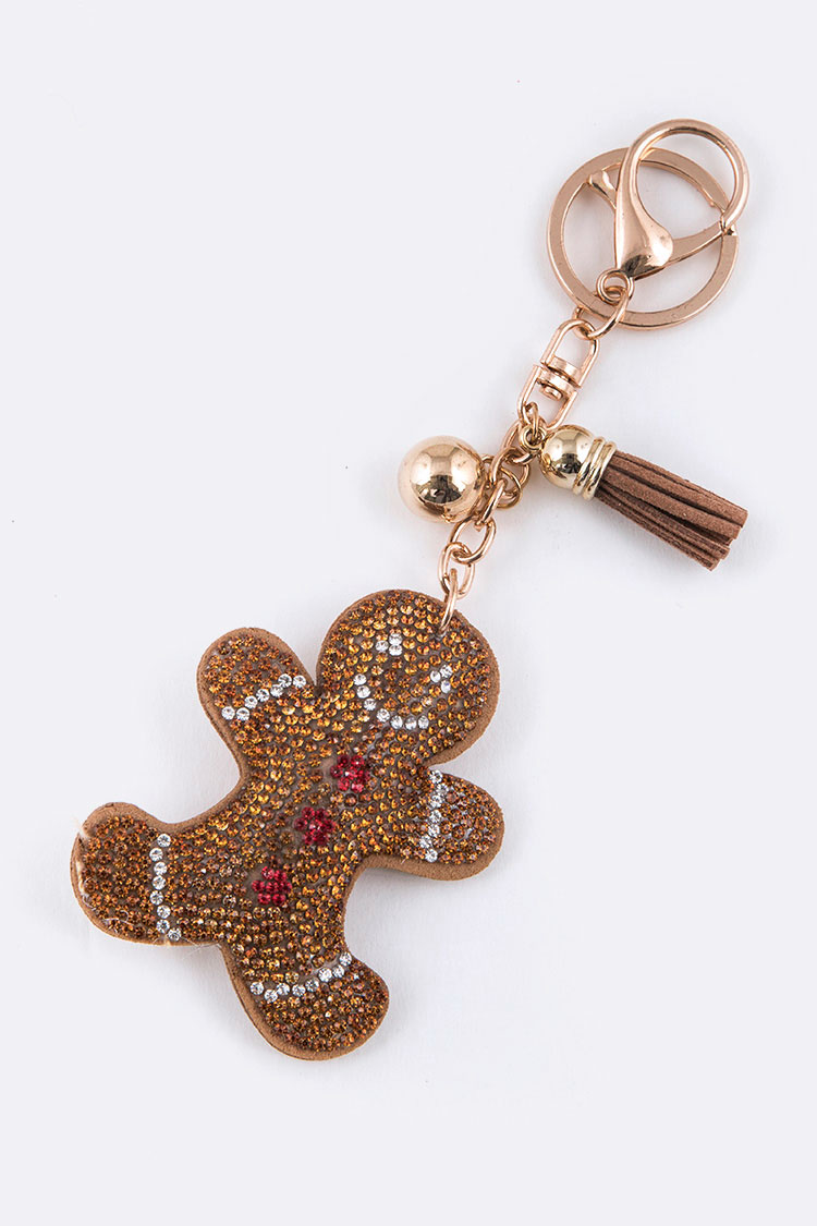 Gingerbread Cookie Man Crystal Key Chain
