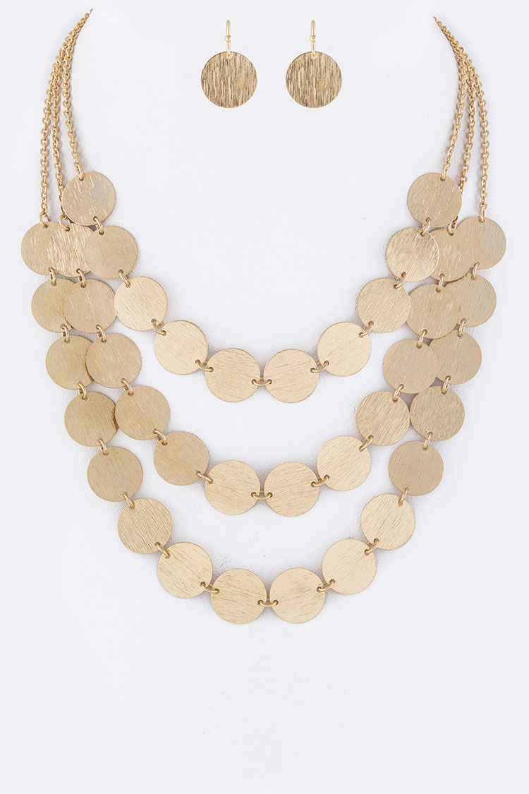 Linked Disks Layer Necklace Set