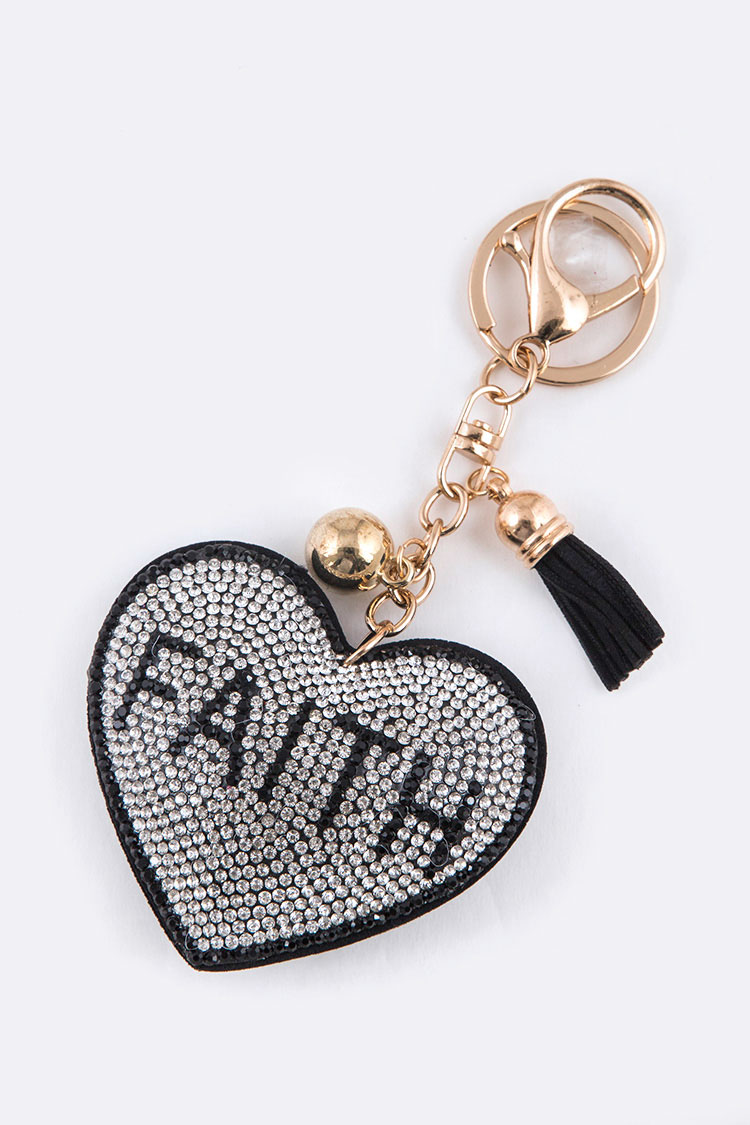 Faith Crystal Heart Key Chain