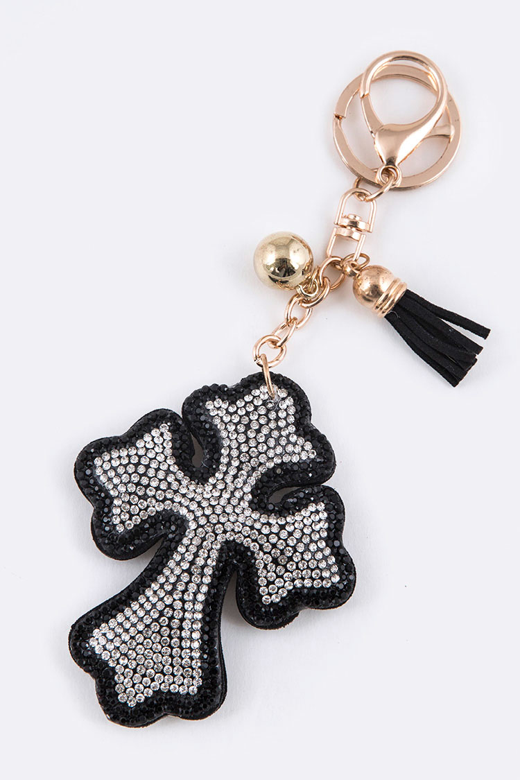 Crystal Cross Puff Key Chain