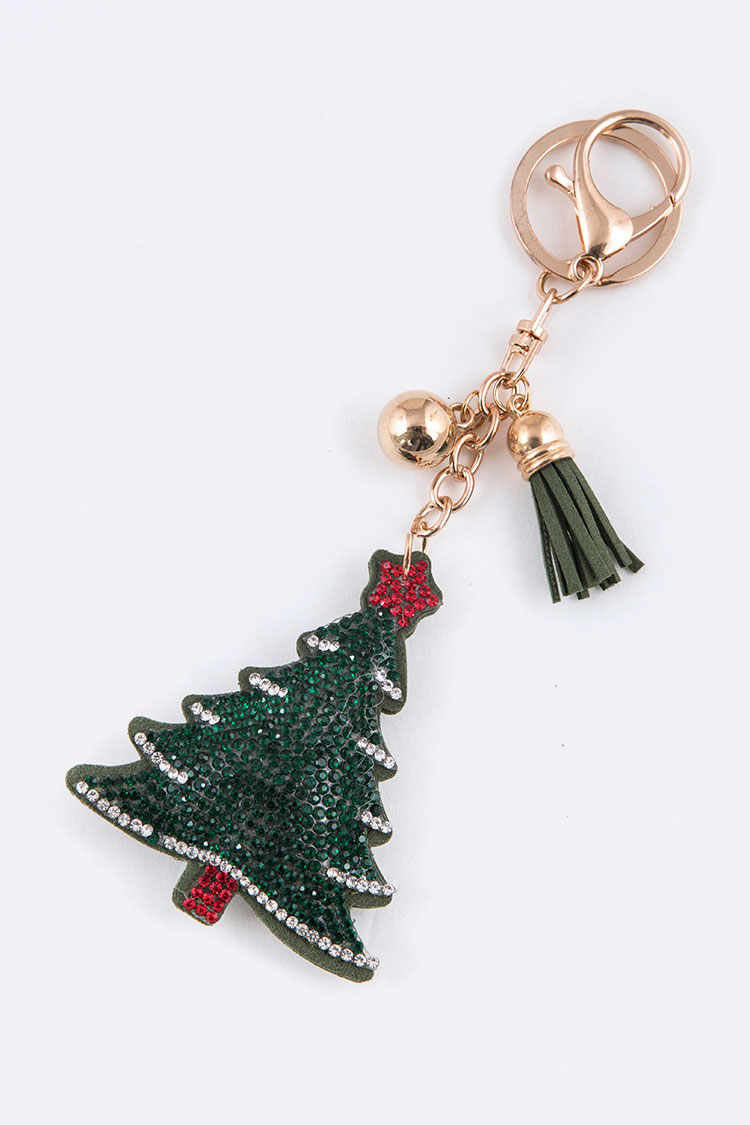 Crystal Christmas Tree Puffy Key Charm