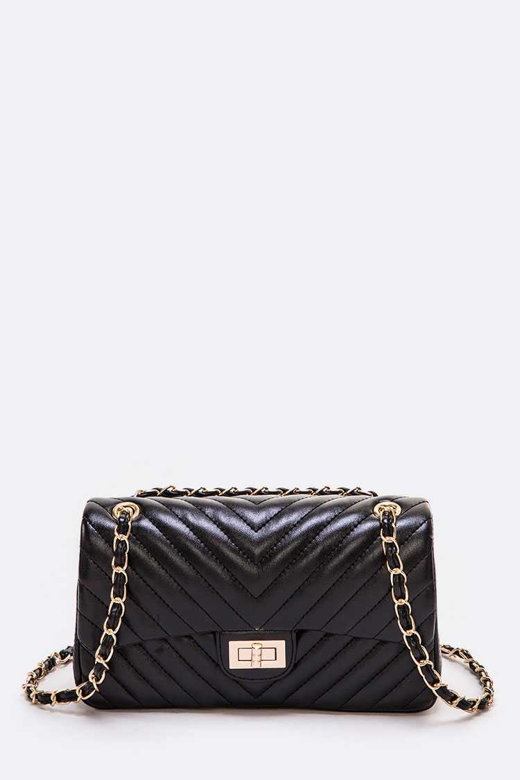 Quilted Convertible Turn Lock Shoulder Bag