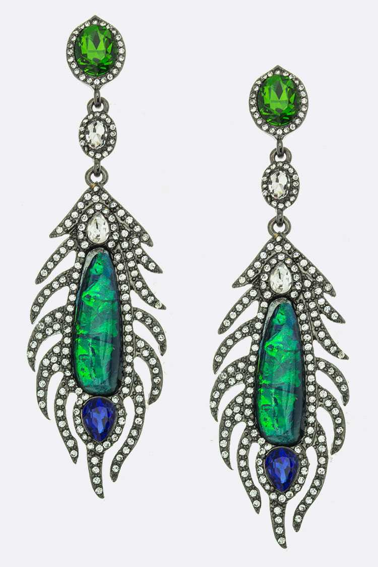 Crystal Ornate Feather Earrings
