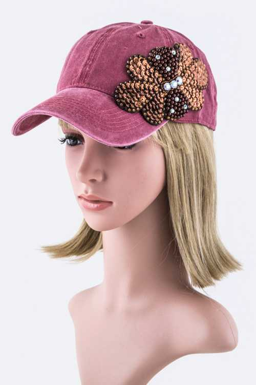 Bead & Sequins Flower Bow Fashion Cap