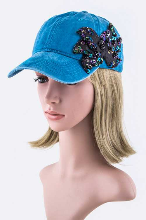 Beaded Bow Cotton Washed Fashion Cap