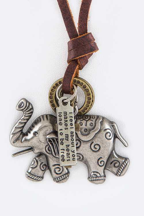 Metal Elephant Mix Charms Leather Adjustable Necklace