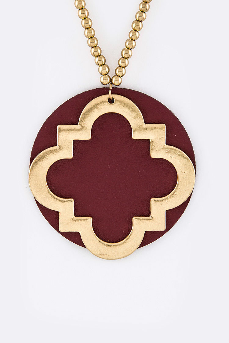 Leather Disk & Metal Flower Pendant Necklace