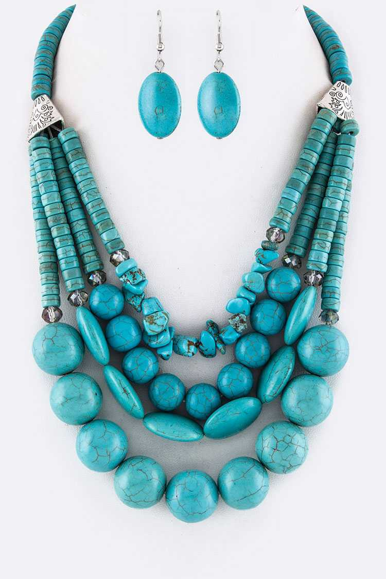 Mix Turquoise Layer Necklace Set