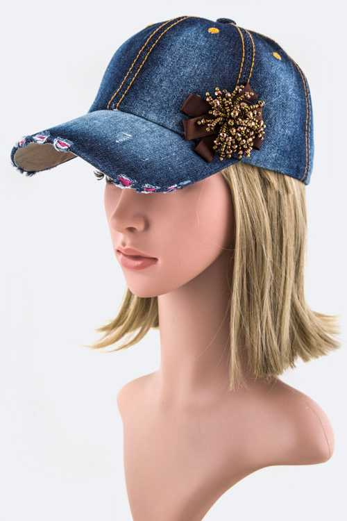Beaded Bow Fashion Denim Cap