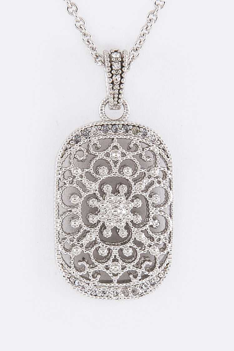 CZ & Filigree Tag Pendant Necklace