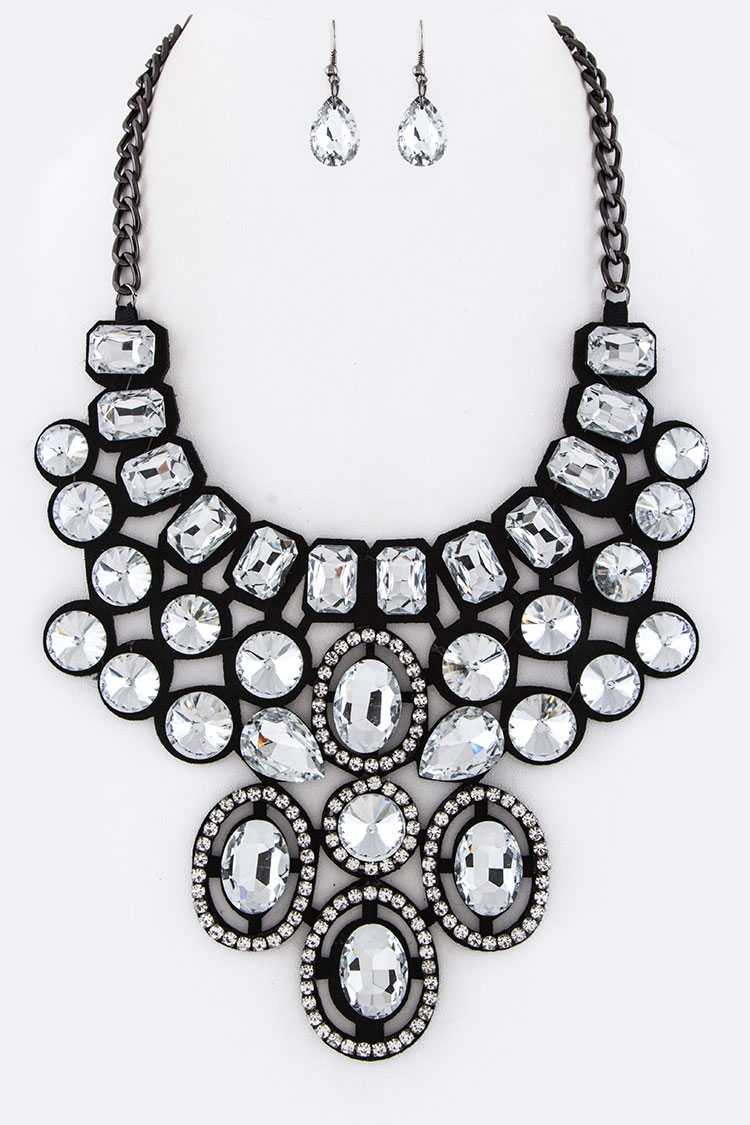 Mix Crystals Bib Statement Necklace Set