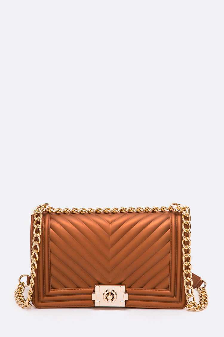 Chevron Chunky Chain Iconic Jelly Bag