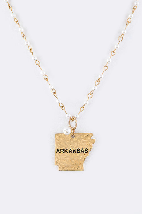ARKANSAS Map Charm Pearl Station Necklace