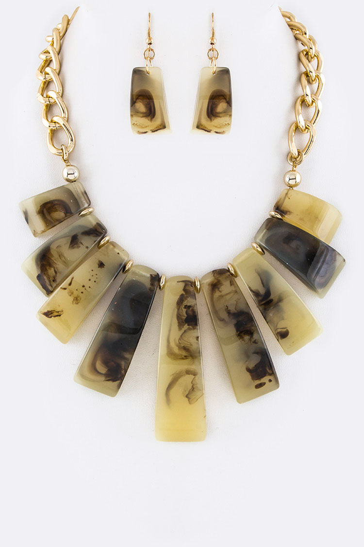 Resin Bars Statement Necklace Set