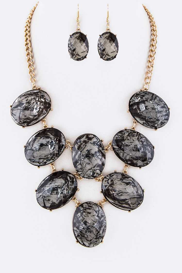Oval Resin Stones Statement Necklace Set