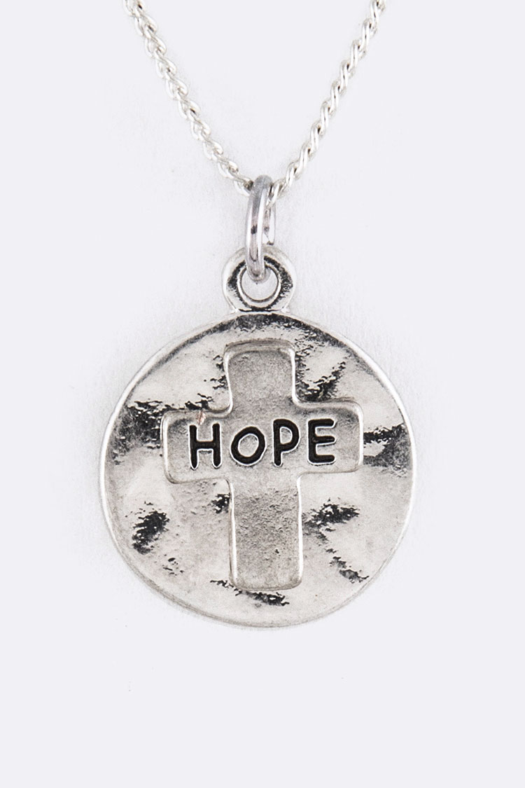 Engraved HOPE Cross Disk Pendant Necklace