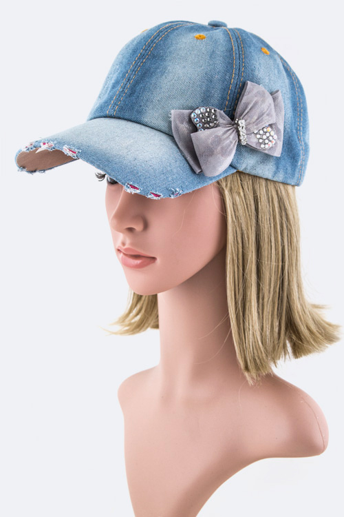 Crystal Bow Fashion Denim Cap