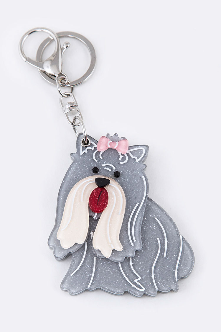 Bearded Collie Mirror Key Chain