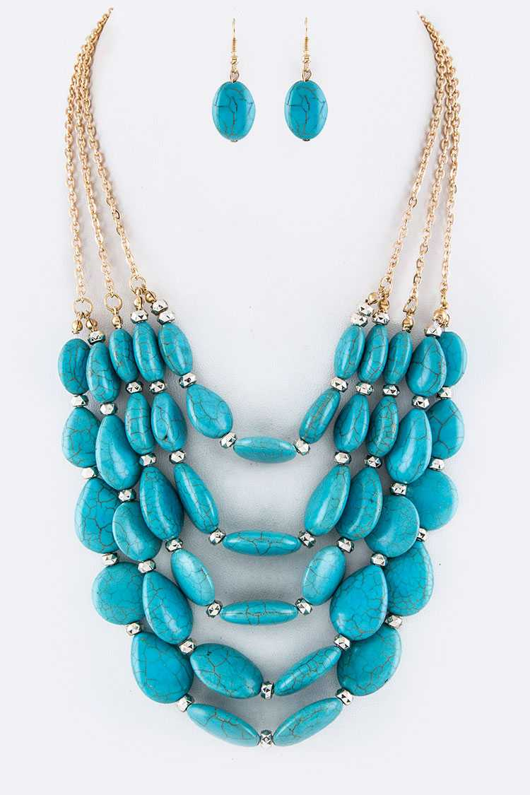 Turquoise Pebbles Layer Necklace Set