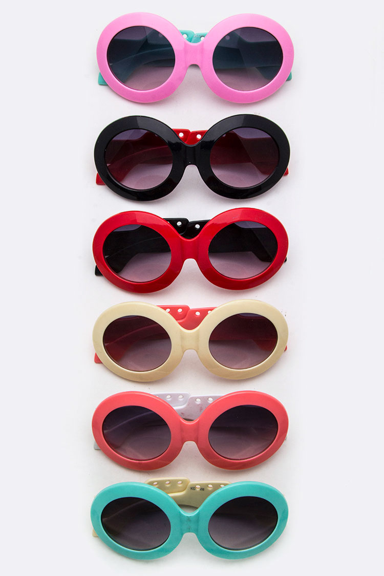 Kids Size 2 Tone Oval Sunglasses