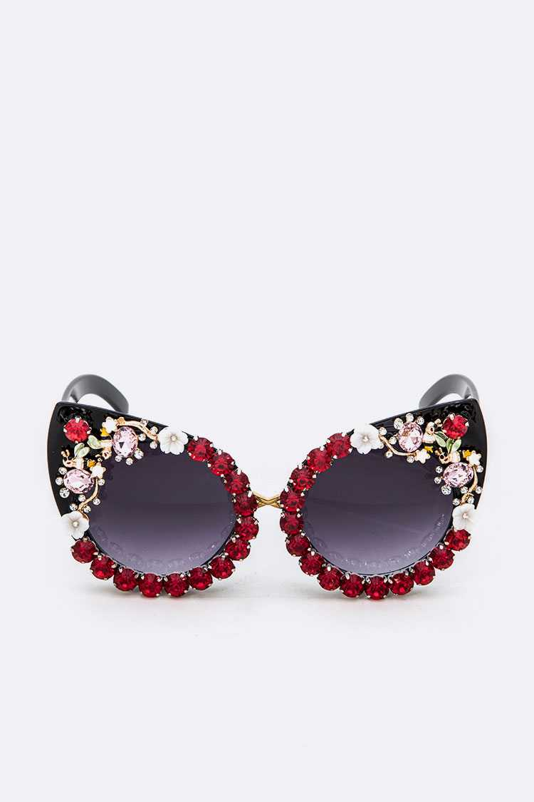 Crystal Flower Statement Cat Eye Sunglasses