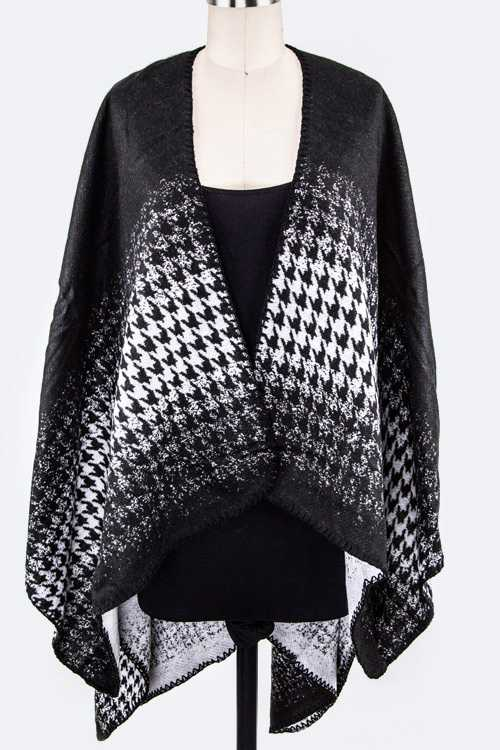 Houndstooth Print Shaped Shawl