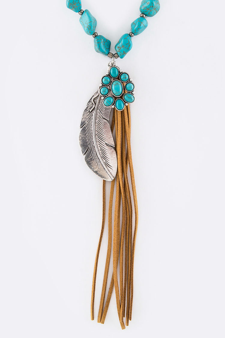 Feather Mix Charms Turquoise Necklace Set