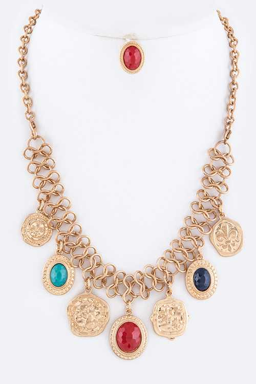 Vintage Coins Convertible Statement Necklace Set