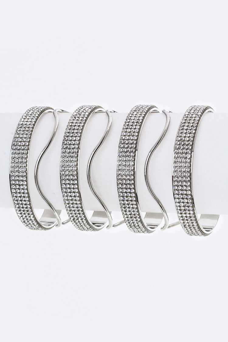 Crystal & Wavy Metal Slit Wide Cuff