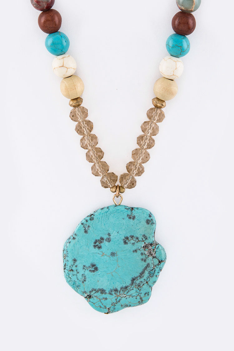 Semi Precious Beads & Turquoise Necklace